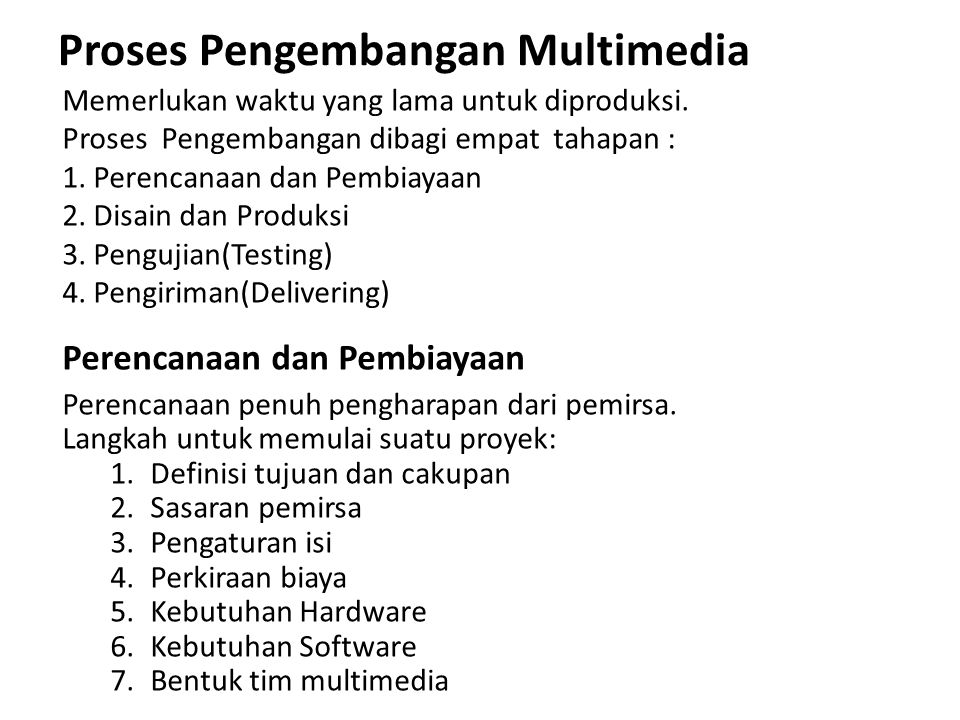 Proses Pengembangan Multimedia