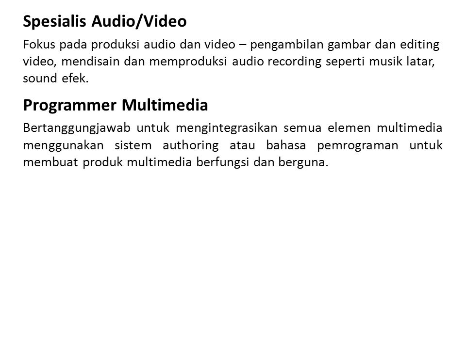 Spesialis Audio/Video
