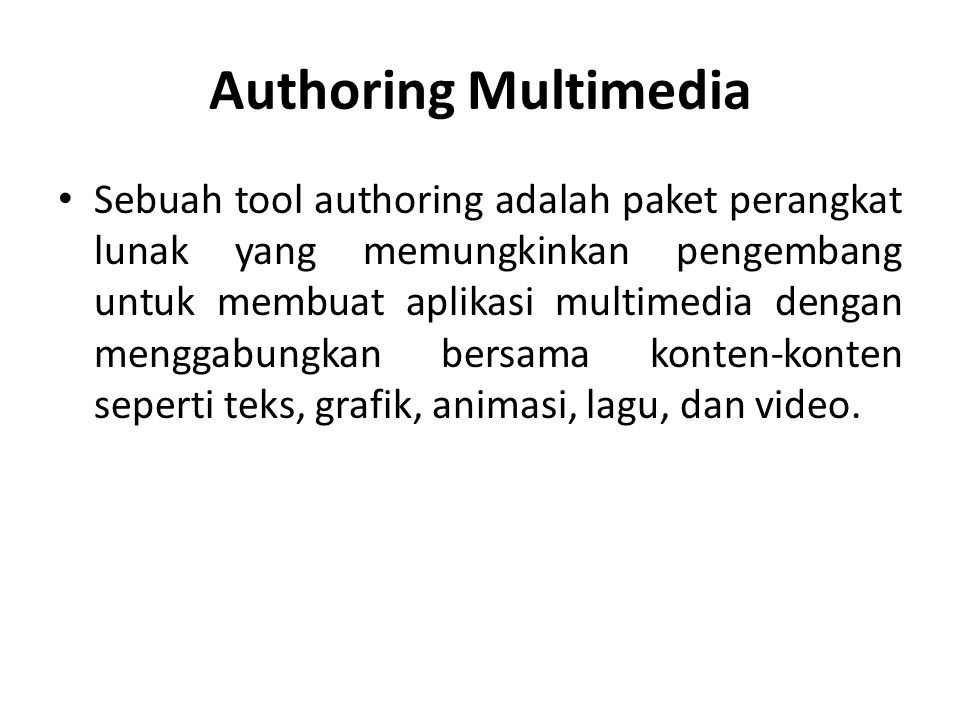 Authoring Multimedia