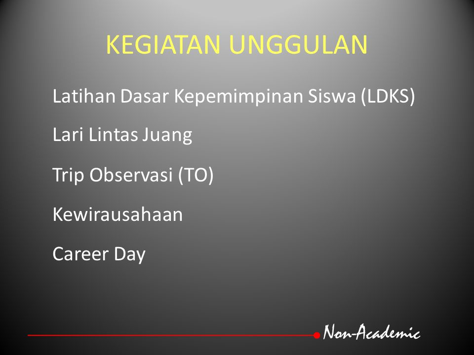 KEGIATAN UNGGULAN Non-Academic Latihan Dasar Kepemimpinan Siswa (LDKS)