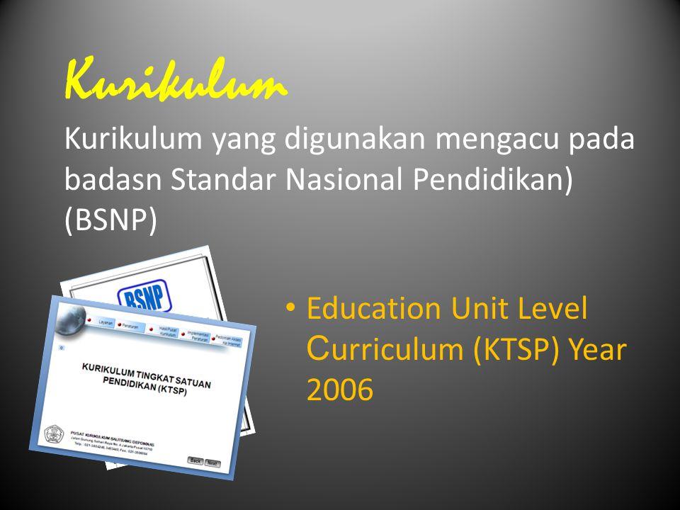 Kurikulum Kurikulum yang digunakan mengacu pada badasn Standar Nasional Pendidikan) (BSNP) Education Unit Level Curriculum (KTSP) Year 2006.