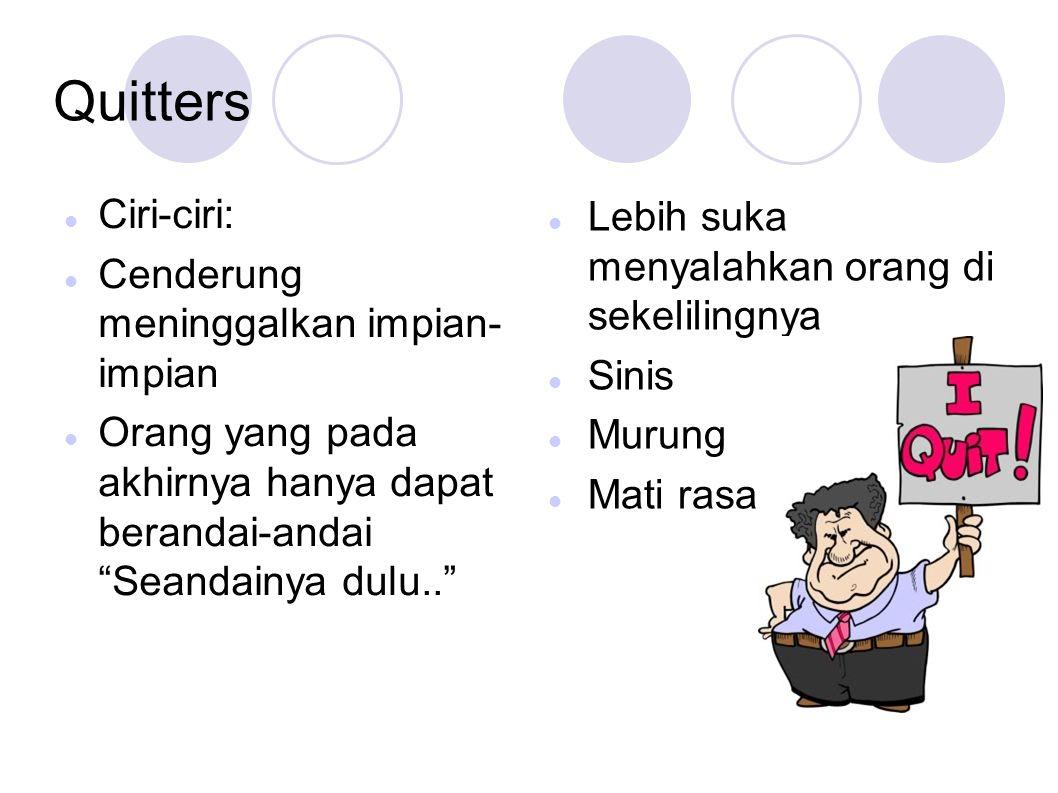 Quitters Ciri-ciri: Lebih suka menyalahkan orang di sekelilingnya