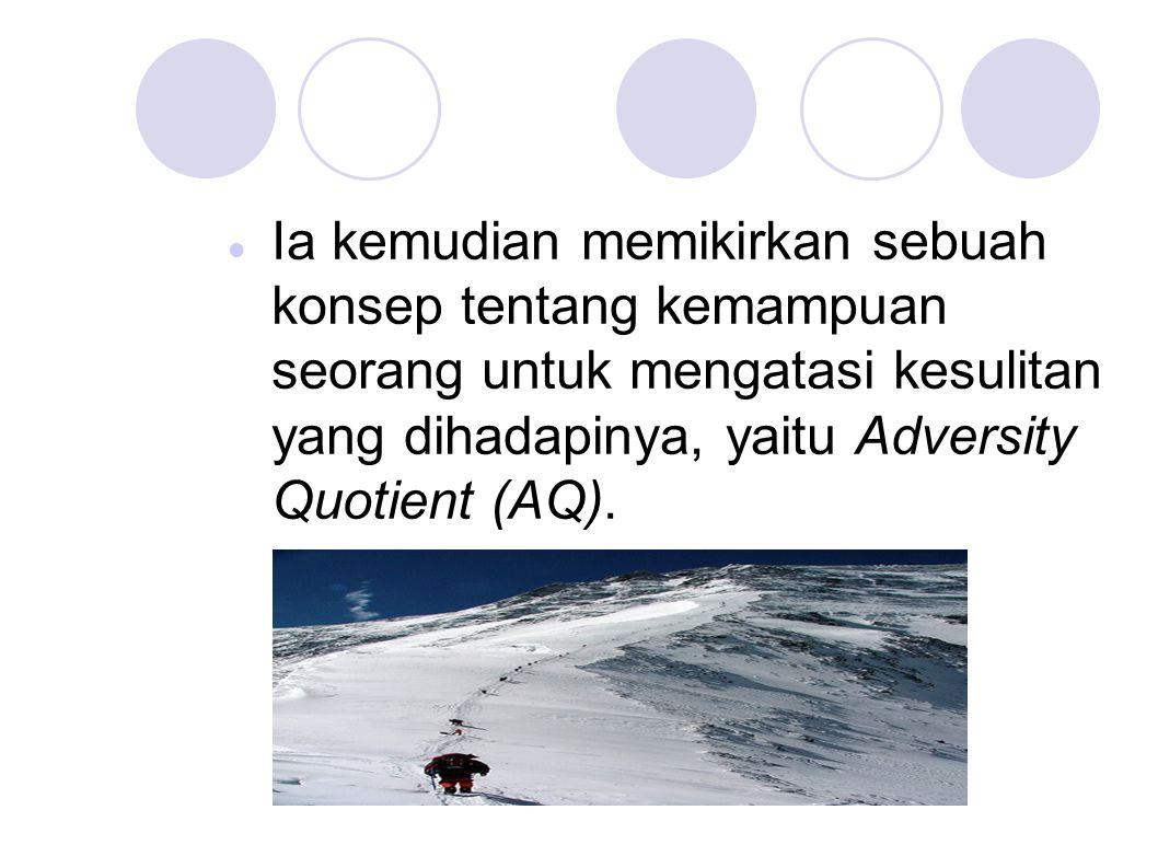 Ia kemudian memikirkan sebuah konsep tentang kemampuan seorang untuk mengatasi kesulitan yang dihadapinya, yaitu Adversity Quotient (AQ).