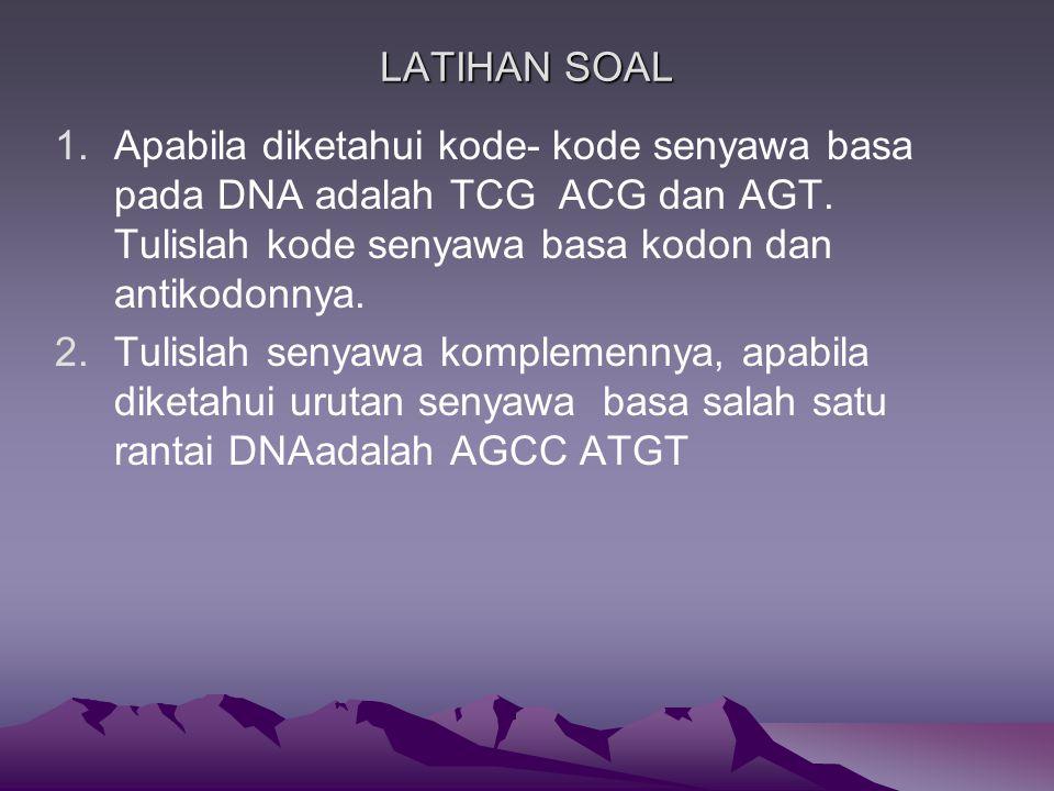 LATIHAN SOAL Apabila diketahui kode- kode senyawa basa pada DNA adalah TCG ACG dan AGT. Tulislah kode senyawa basa kodon dan antikodonnya.