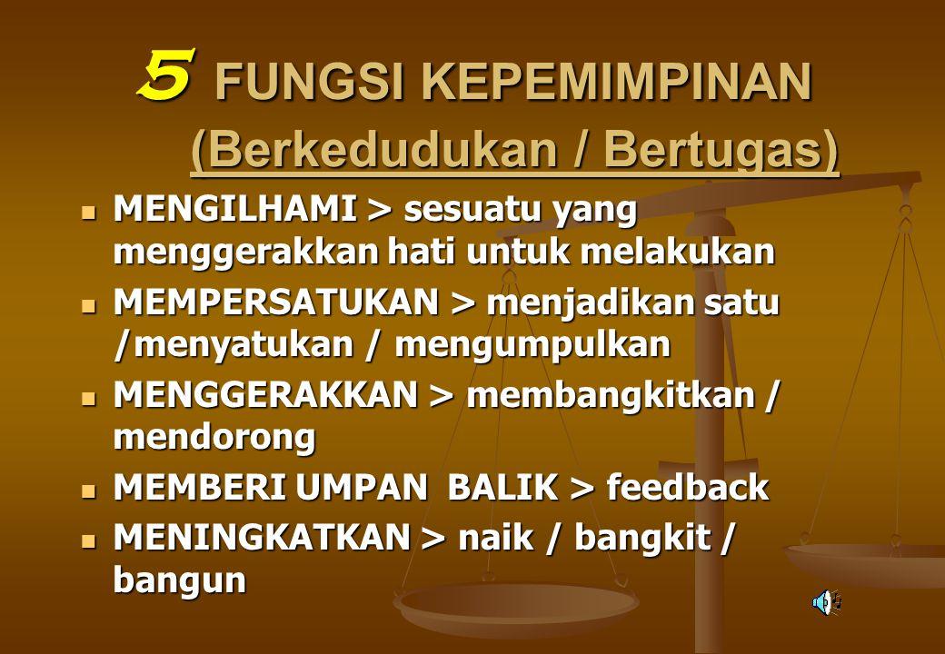 5 FUNGSI KEPEMIMPINAN (Berkedudukan / Bertugas)