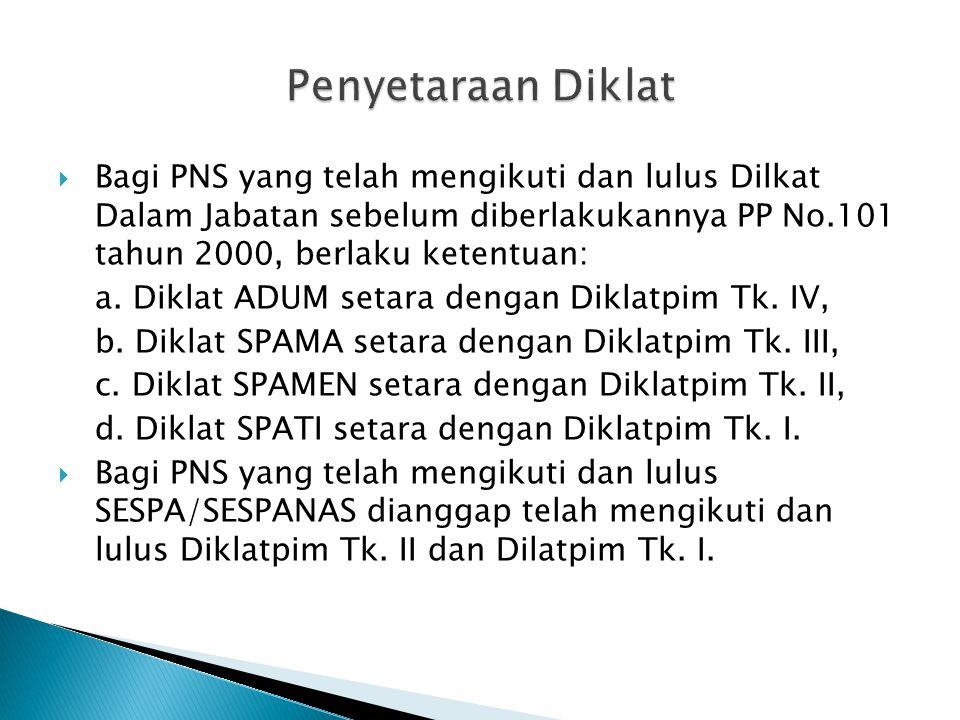 Penyetaraan Diklat Bagi PNS yang telah mengikuti dan lulus Dilkat Dalam Jabatan sebelum diberlakukannya PP No.101 tahun 2000, berlaku ketentuan: