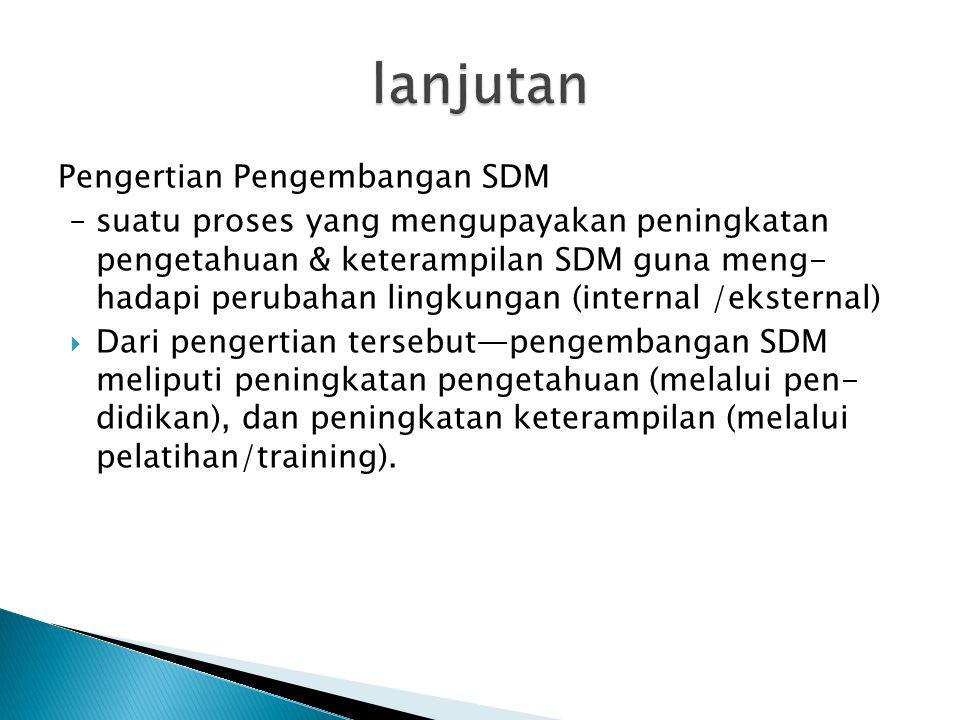 lanjutan Pengertian Pengembangan SDM