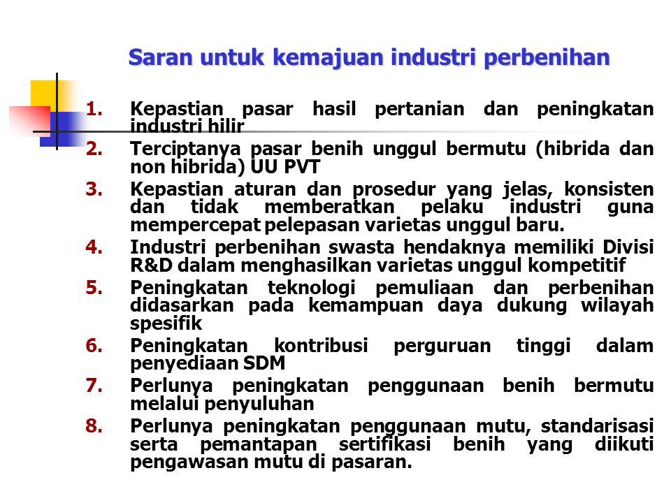 Saran untuk kemajuan industri perbenihan