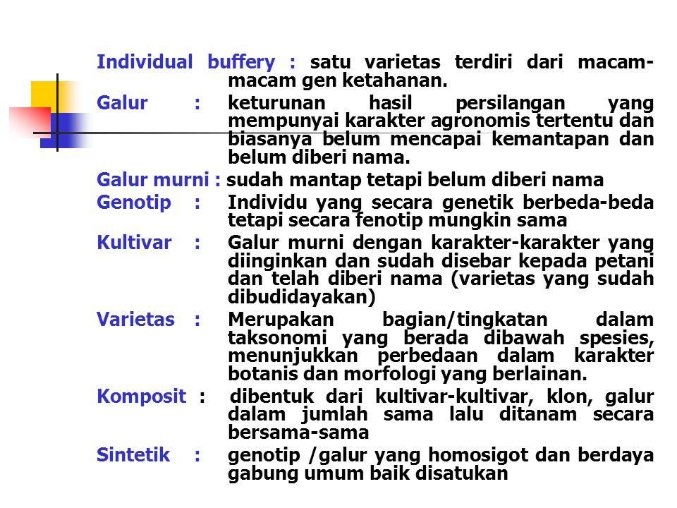 Individual buffery : satu varietas terdiri dari macam-macam gen ketahanan.