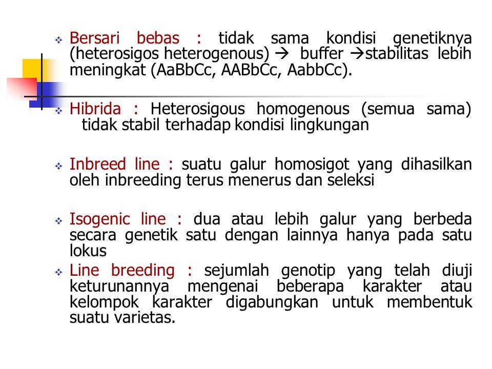 Bersari bebas : tidak sama kondisi genetiknya (heterosigos heterogenous)  buffer stabilitas lebih meningkat (AaBbCc, AABbCc, AabbCc).