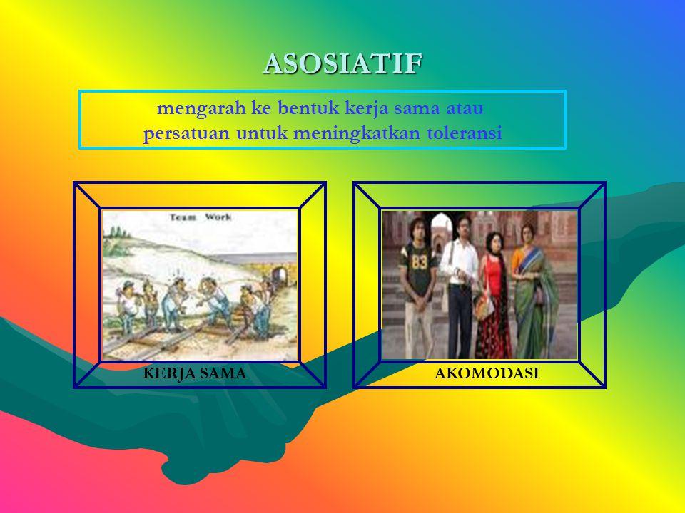 ASOSIATIF mengarah ke bentuk kerja sama atau