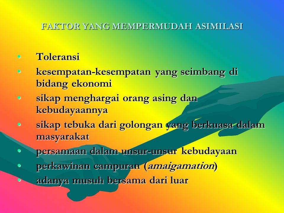 FAKTOR YANG MEMPERMUDAH ASIMILASI