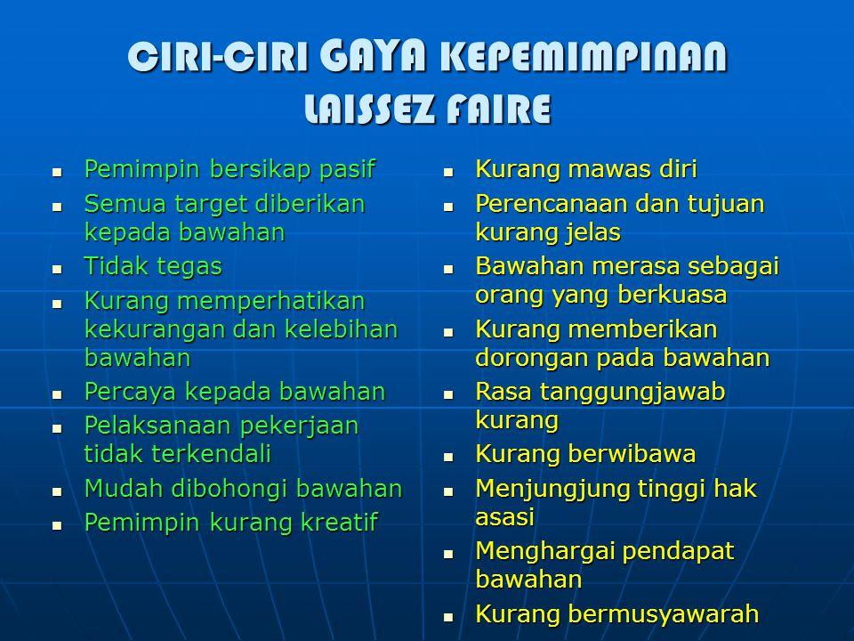 CIRI-CIRI GAYA KEPEMIMPINAN LAISSEZ FAIRE