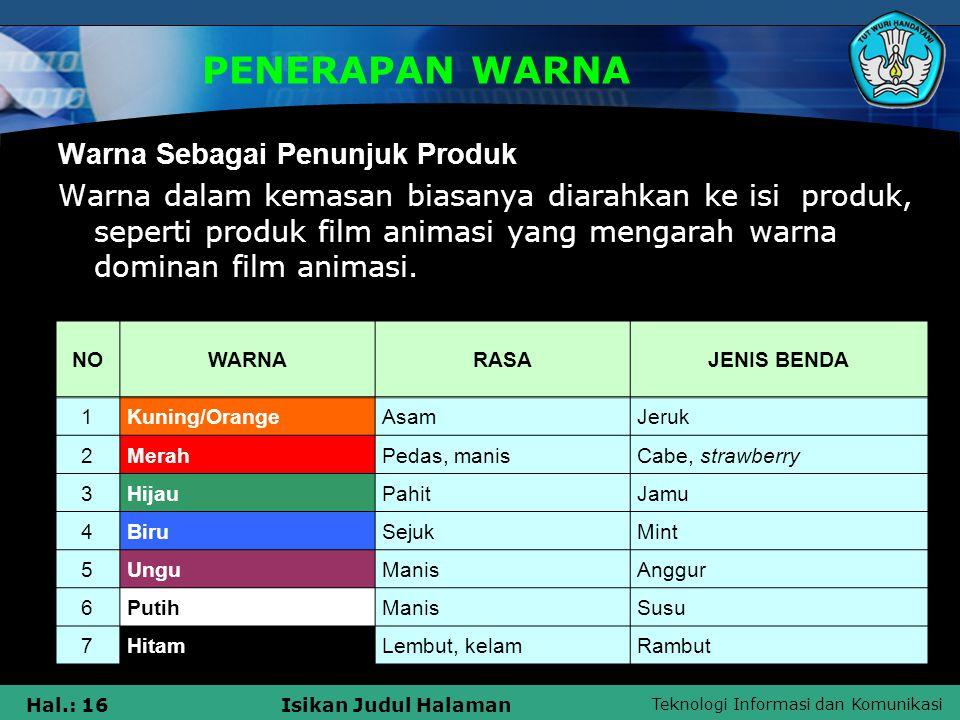 PENERAPAN WARNA Warna Sebagai Penunjuk Produk