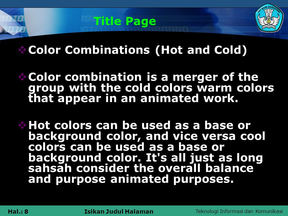 Title Page Color Combinations (Hot and Cold)