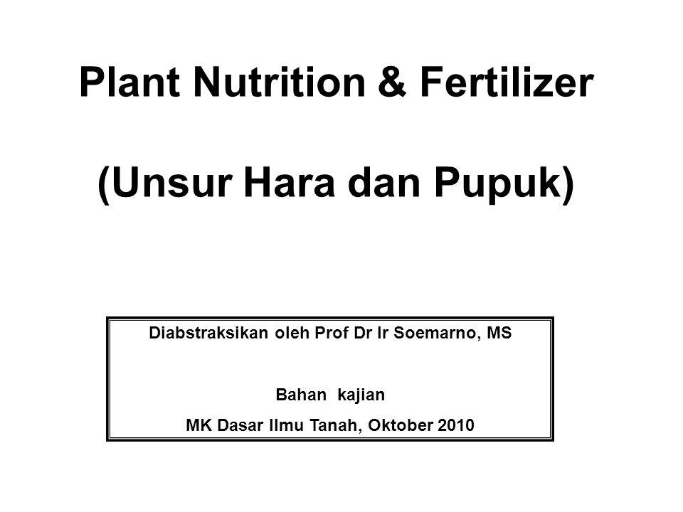 Plant Nutrition & Fertilizer (Unsur Hara dan Pupuk)