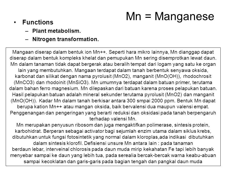 Mn = Manganese Functions Plant metabolism. Nitrogen transformation.