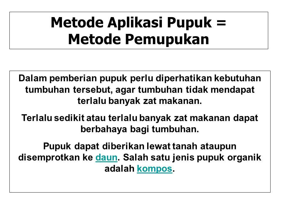 Metode Aplikasi Pupuk =
