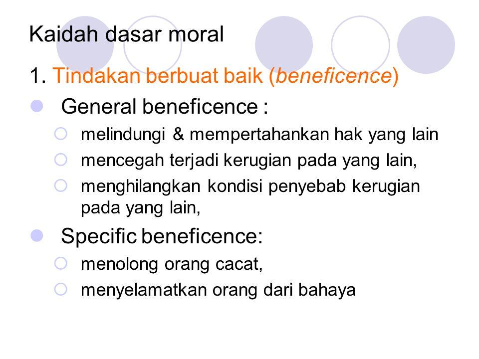 Kaidah dasar moral 1. Tindakan berbuat baik (beneficence)