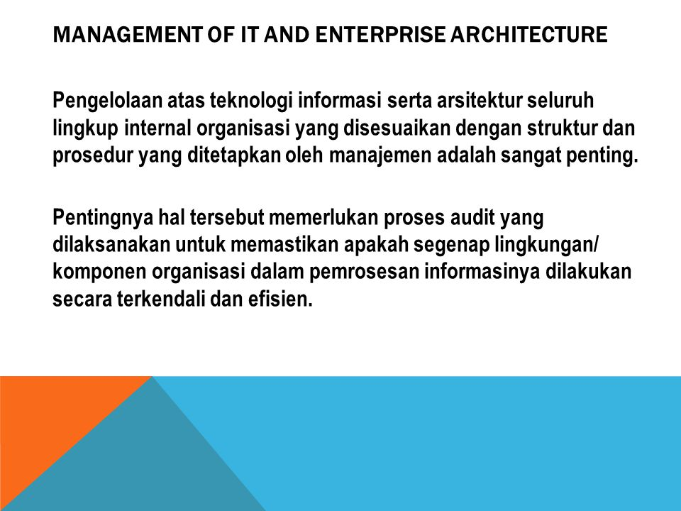 Management of IT and Enterprise Architecture