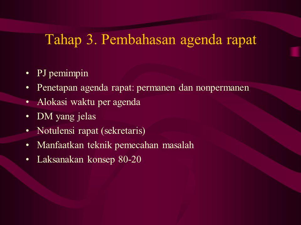 Tahap 3. Pembahasan agenda rapat