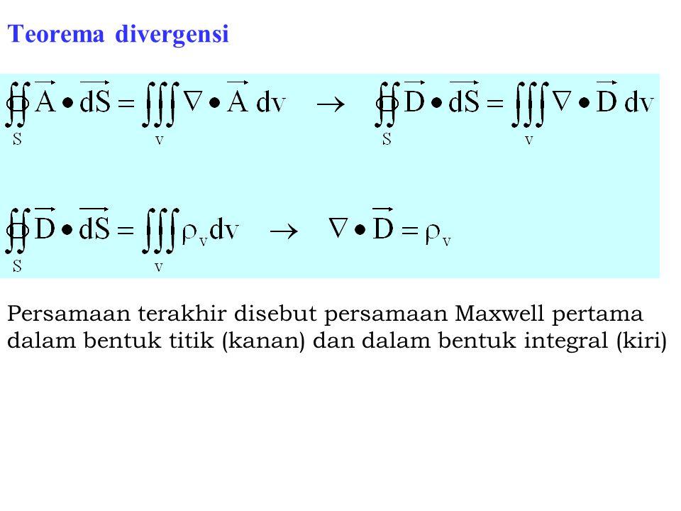 Teorema divergensi Persamaan terakhir disebut persamaan Maxwell pertama dalam bentuk titik (kanan) dan dalam bentuk integral (kiri)