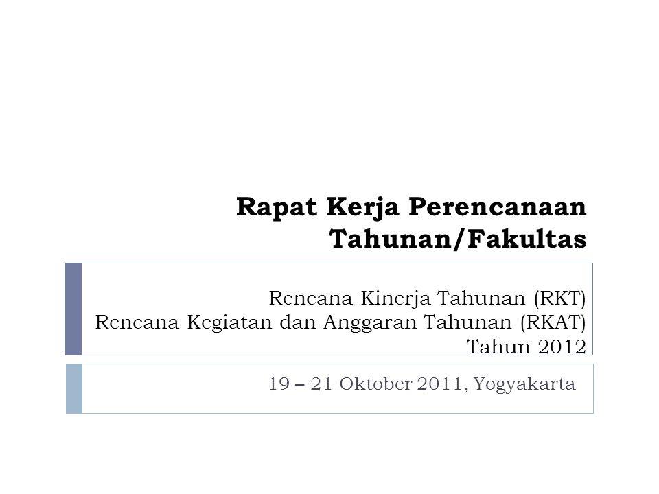 Rapat Kerja Perencanaan Tahunan/Fakultas Rencana Kinerja Tahunan (RKT) Rencana Kegiatan dan Anggaran Tahunan (RKAT) Tahun 2012