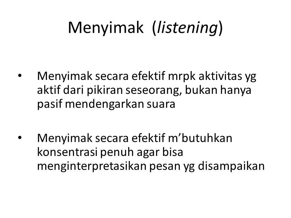 Menyimak (listening) Menyimak secara efektif mrpk aktivitas yg aktif dari pikiran seseorang, bukan hanya pasif mendengarkan suara.