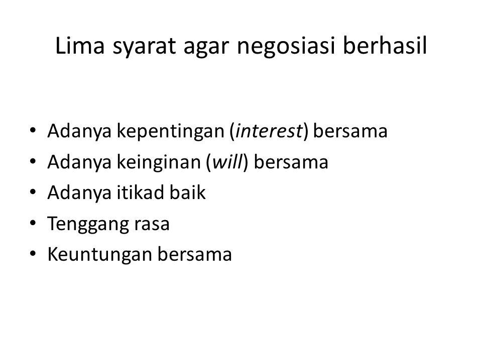 Lima syarat agar negosiasi berhasil