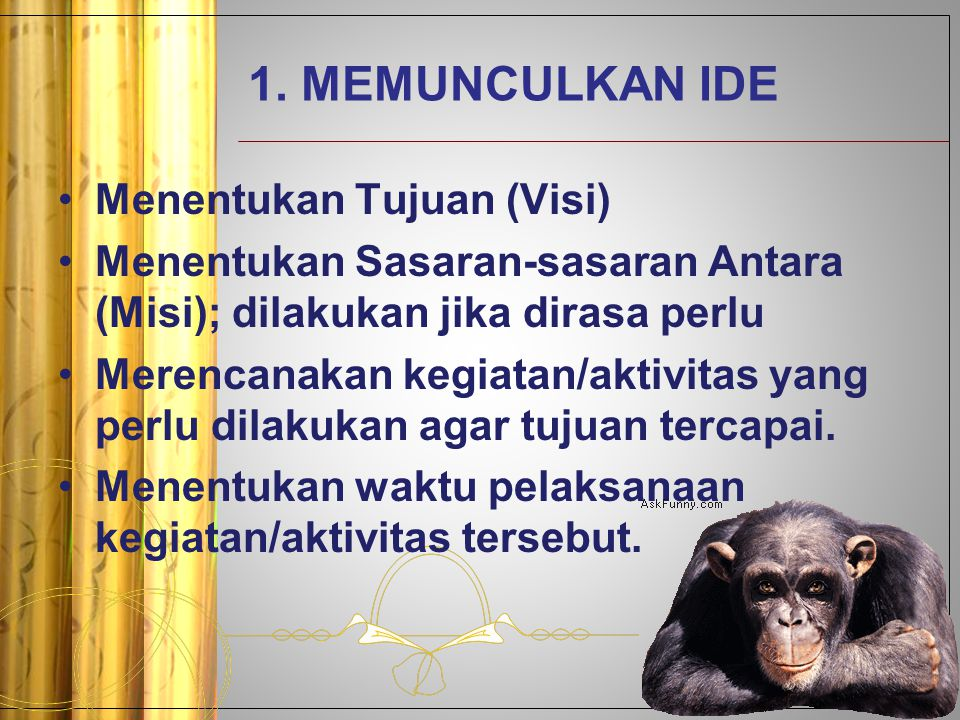 1. MEMUNCULKAN IDE Menentukan Tujuan (Visi)