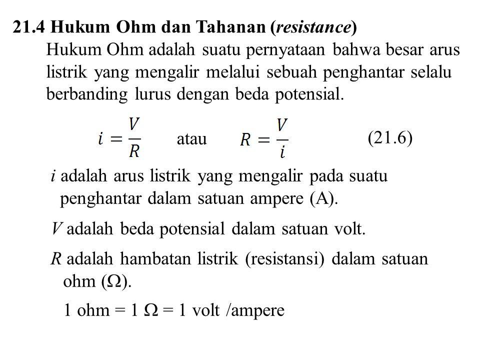 21.4 Hukum Ohm dan Tahanan (resistance)
