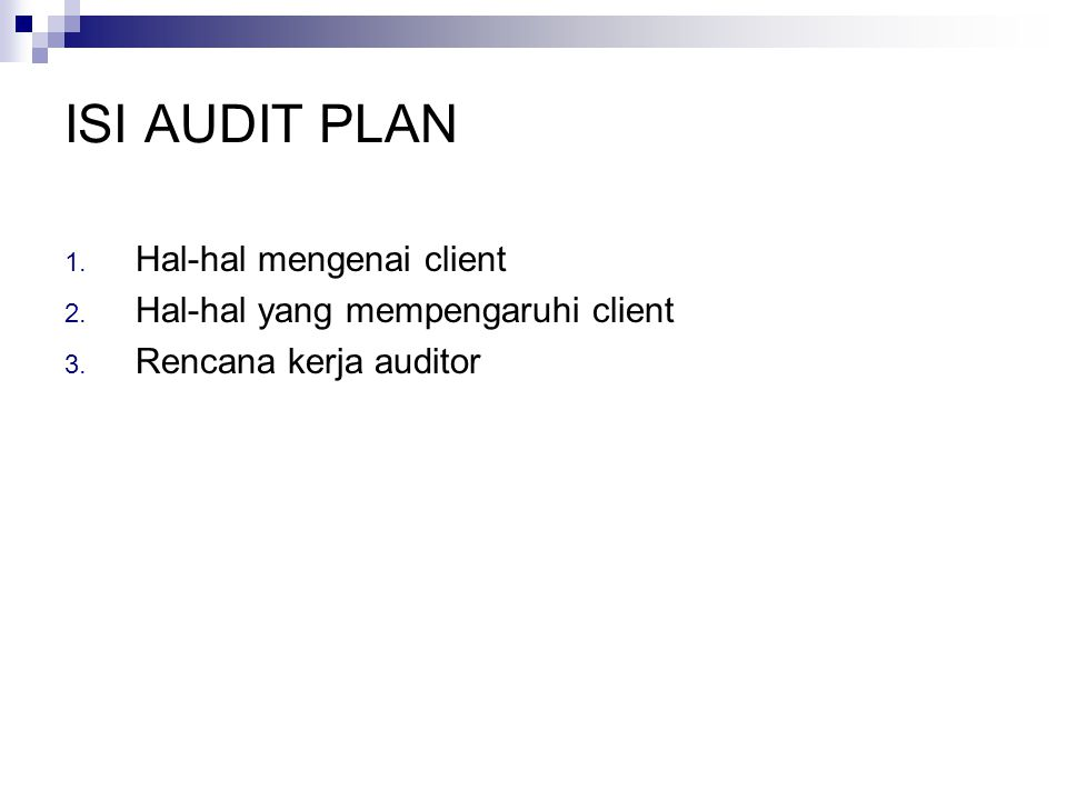 ISI AUDIT PLAN Hal-hal mengenai client