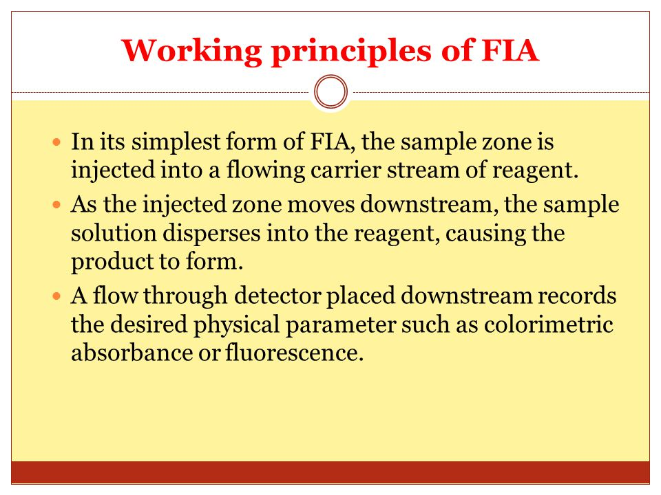 Working principles of FIA