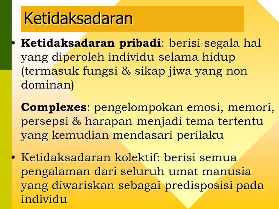 Ketidaksadaran Ketidaksadaran pribadi: berisi segala hal yang diperoleh individu selama hidup (termasuk fungsi & sikap jiwa yang non dominan)