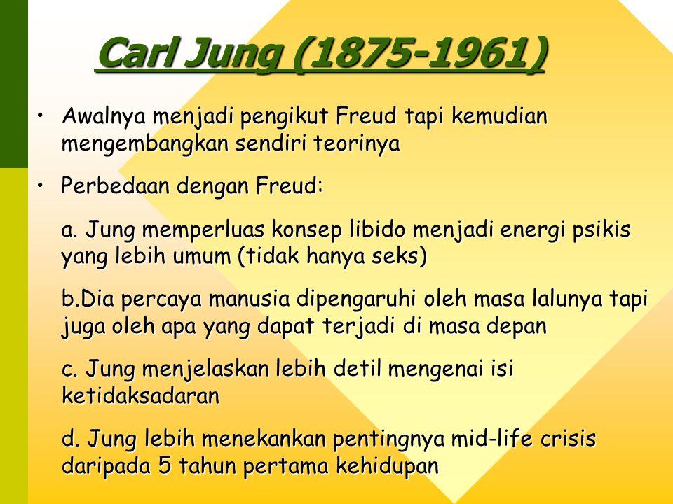 Carl Jung (1875-1961) Awalnya menjadi pengikut Freud tapi kemudian mengembangkan sendiri teorinya.