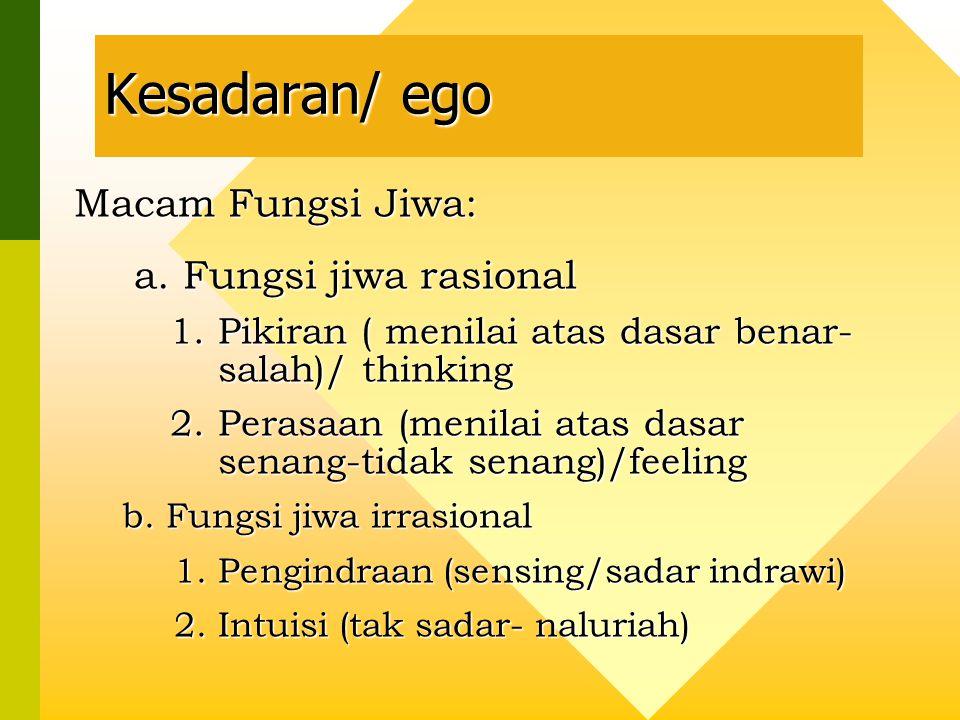 Kesadaran/ ego Macam Fungsi Jiwa: a. Fungsi jiwa rasional