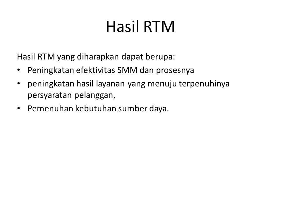 Hasil RTM Hasil RTM yang diharapkan dapat berupa: