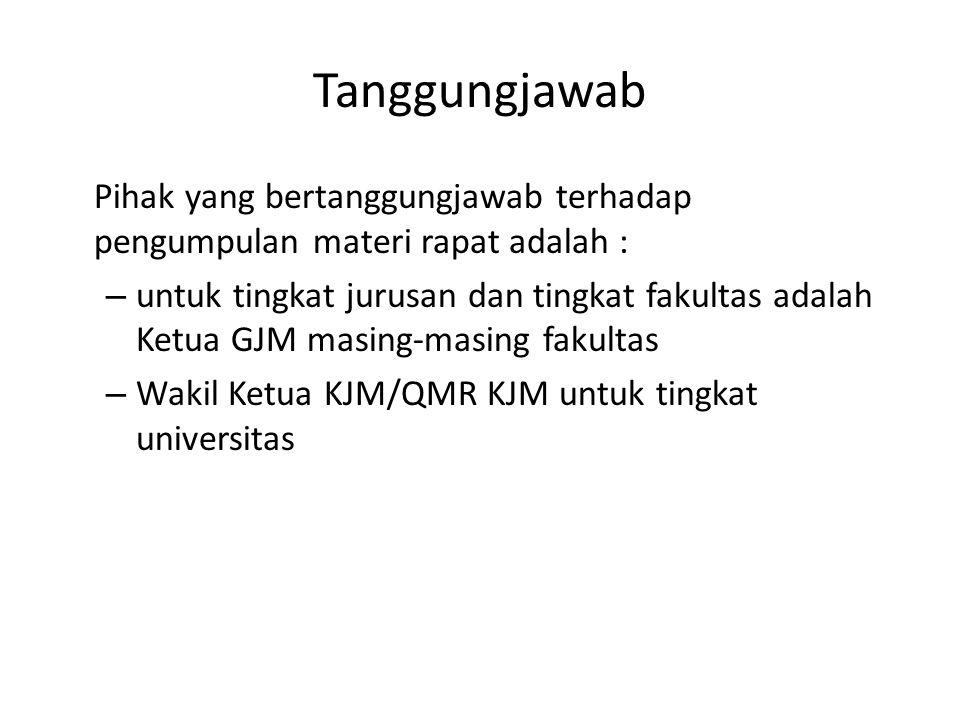 Tanggungjawab Pihak yang bertanggungjawab terhadap pengumpulan materi rapat adalah :
