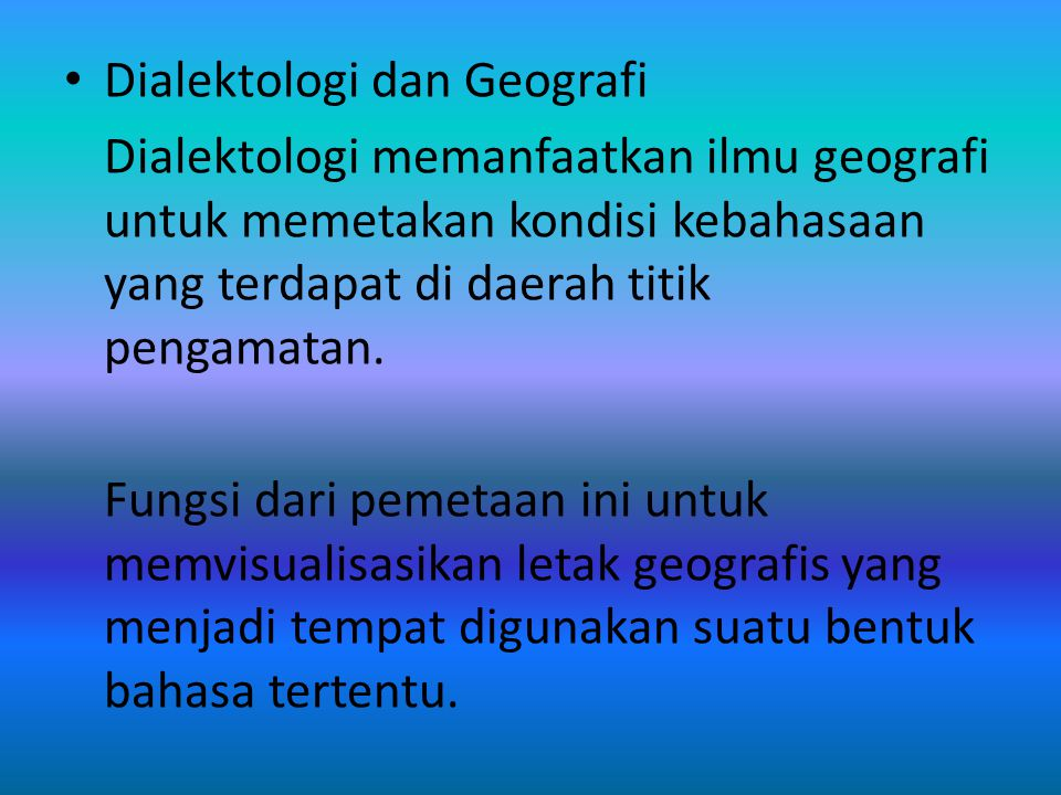 Dialektologi dan Geografi