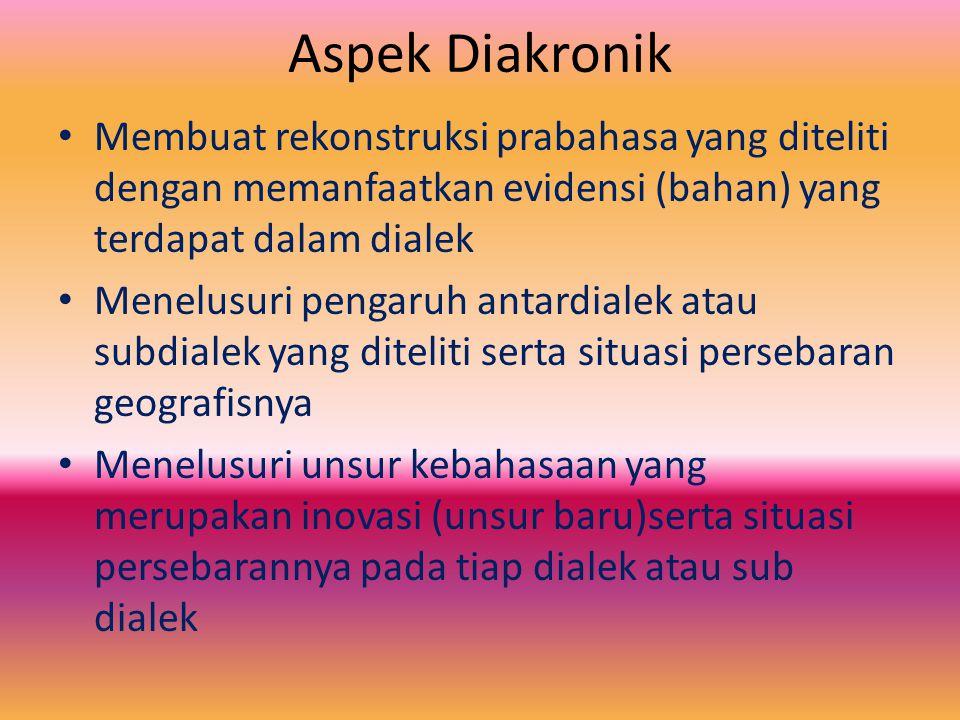 Aspek Diakronik Membuat rekonstruksi prabahasa yang diteliti dengan memanfaatkan evidensi (bahan) yang terdapat dalam dialek.
