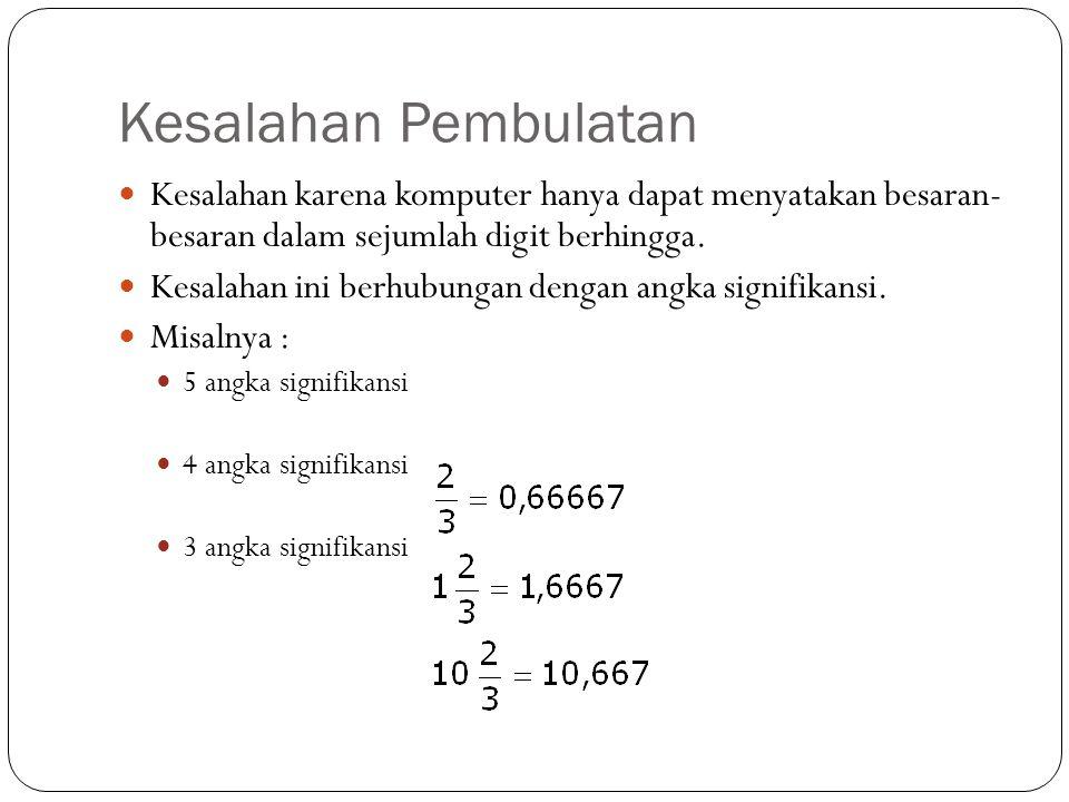 Kesalahan Pembulatan Kesalahan karena komputer hanya dapat menyatakan besaran- besaran dalam sejumlah digit berhingga.