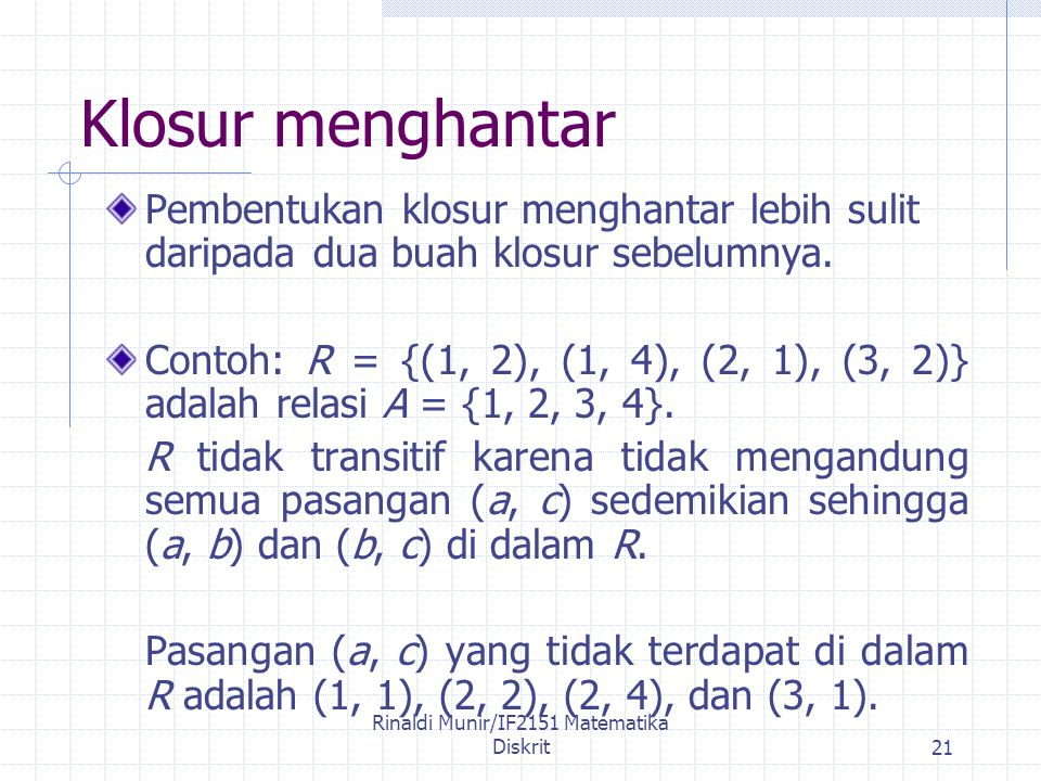 Rinaldi Munir/IF2151 Matematika Diskrit