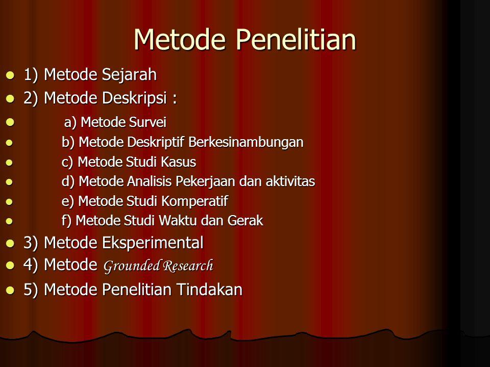 Metode Penelitian 1) Metode Sejarah 2) Metode Deskripsi :