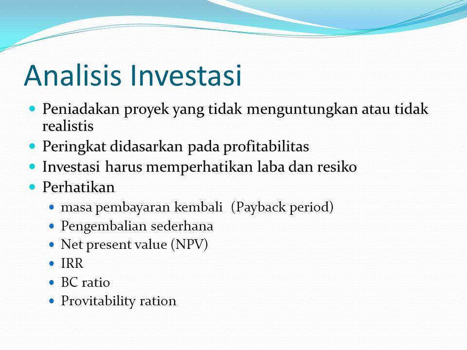 Analisis Investasi Peniadakan proyek yang tidak menguntungkan atau tidak realistis. Peringkat didasarkan pada profitabilitas.