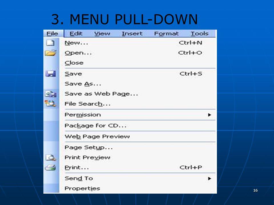 3. MENU PULL-DOWN