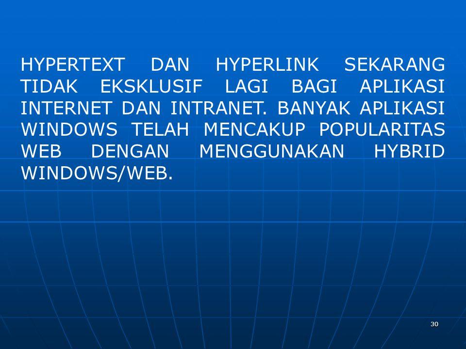 HYPERTEXT DAN HYPERLINK SEKARANG TIDAK EKSKLUSIF LAGI BAGI APLIKASI INTERNET DAN INTRANET.