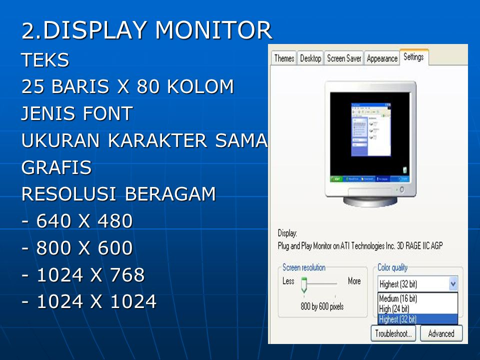 2.DISPLAY MONITOR TEKS 25 BARIS X 80 KOLOM JENIS FONT