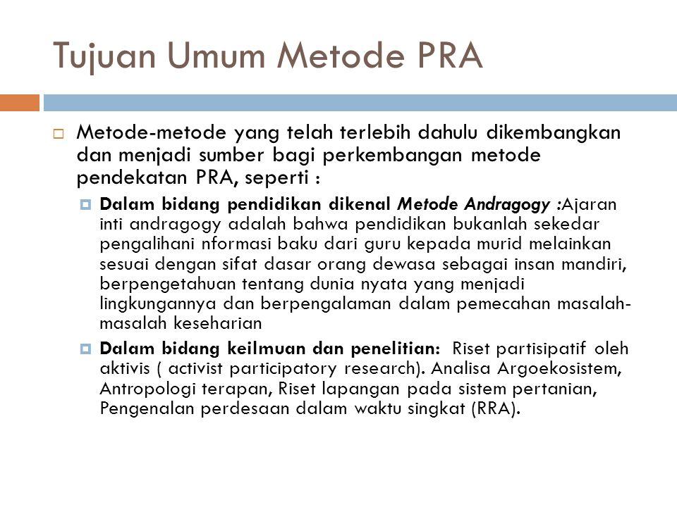 Tujuan Umum Metode PRA Metode-metode yang telah terlebih dahulu dikembangkan dan menjadi sumber bagi perkembangan metode pendekatan PRA, seperti :