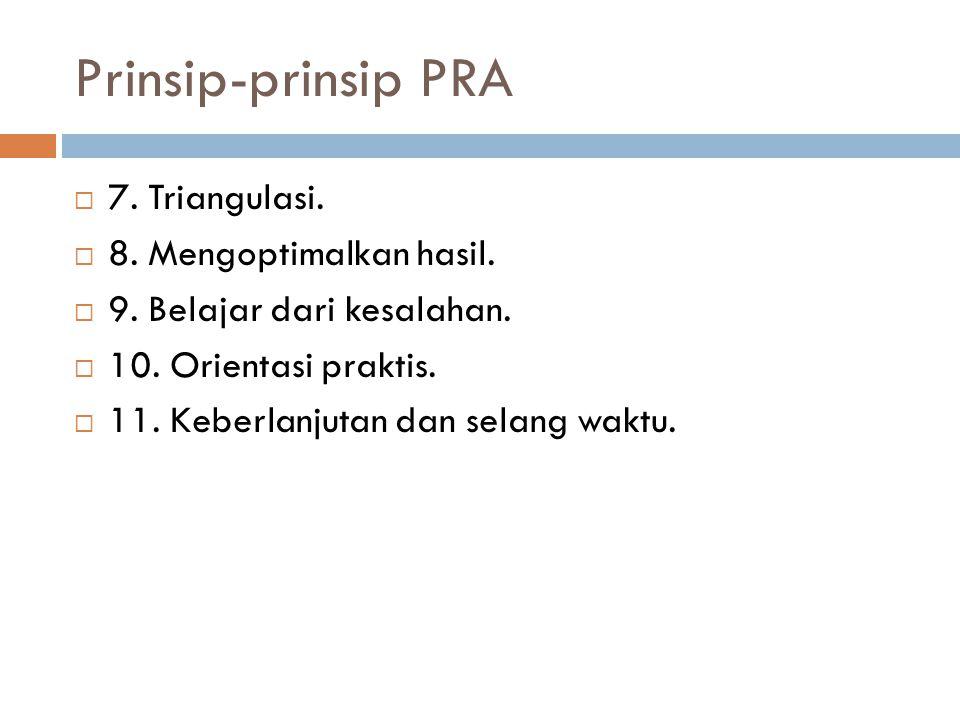 Prinsip-prinsip PRA 7. Triangulasi. 8. Mengoptimalkan hasil.