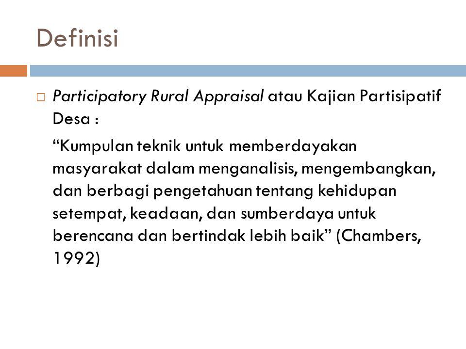 Definisi Participatory Rural Appraisal atau Kajian Partisipatif Desa :